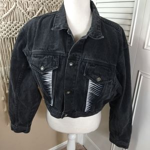 La Gear black vintage faded crop denim jacket L